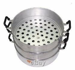 40 cm 3 tier Big Steamer Pot Aluminum Crocodile Brand Thai & Chinese Food+Track