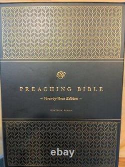ESV Black Goatskin Preaching Bible, Verse by Verse, Brand New