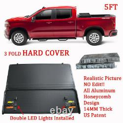 Hard Tonneau Cover 3-Fold 5FT For 16-20 Toyota Tacoma Truck Bed Brand New