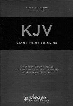 KJV Giant Print Thinline Bible Premium Goatskin Leather Black BRAND NEW