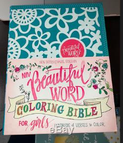 NIV Beautiful Word Coloring Bible For Girls Teal/Leather/Hardcover Brand NEW